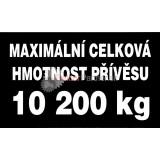 Nálepka - max. celková hmotnosť prívesu 10200kg