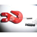 Hák C červený reťazový 6mm s čapom tr.8; 1,12T  (a)